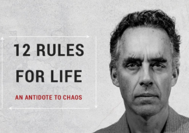 Close up of the front of the book '12 Rules for Life - An Antidote to Chaos' by Jordan Peterson