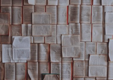 Birdseye view of a table covered with neatly arranged, open books